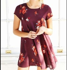 Womens Urban Outfitters Burgandy Floral Dress